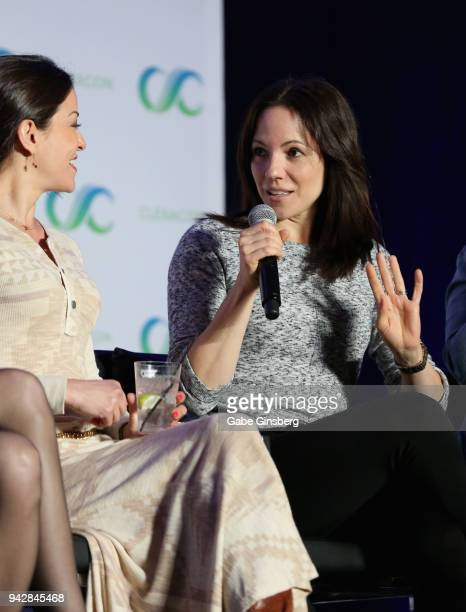 Actresses Emmanuelle Vaugier and Anna Silk speak at the 'Lost Girl Reunion' panel during the ClexaCon 2018 convention at the Tropicana Las Vegas on...