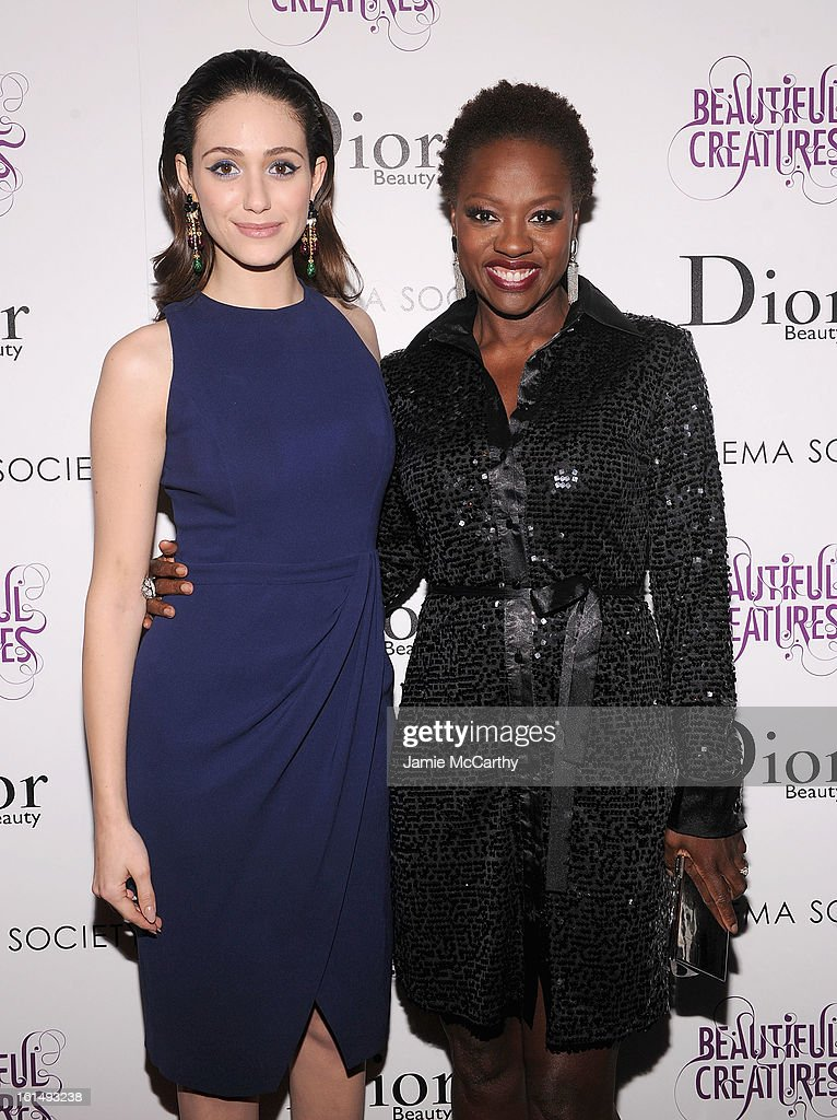 Actresses Emmy Rossum and Viola Davis attend The Cinema Society And Dior Beauty Presents A Screening Of 'Beautiful Creatures' at Tribeca Cinemas on February 11, 2013 in New York City.