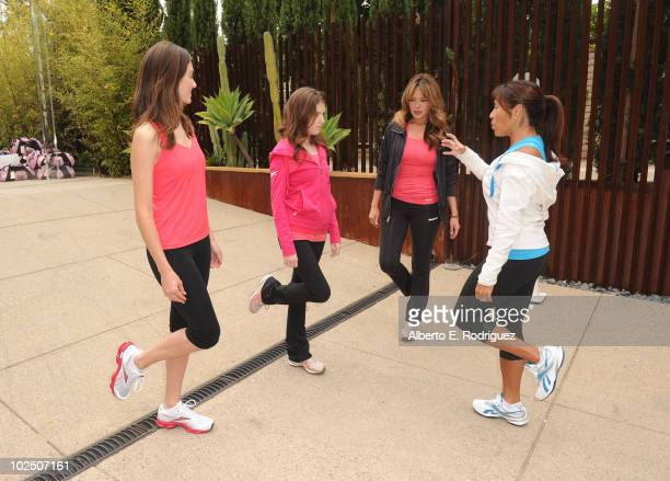 Actresses Emmy Rossum Anna Kendrick Lindsay Price and fitness trainer Yumi Lee attend the Reebok Women's Fitness event on June 16 2010 in Los Angeles...