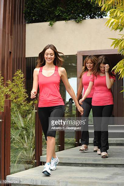 Actresses Emmy Rossum Lindsay Price and Anna Kendrick attend the Reebok Women's Fitness event on June 16 2010 in Los Angeles California
