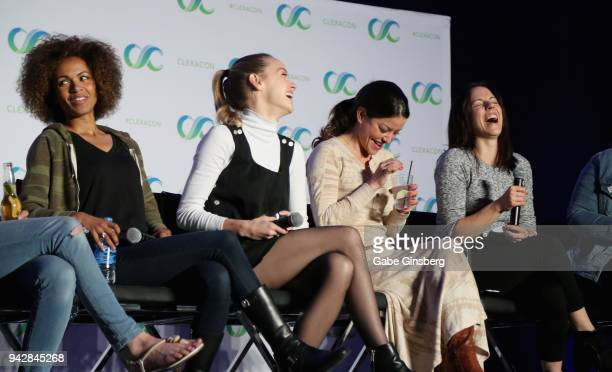 Actresses Erica Luttrell Rachel Skarsten Emmanuelle Vaugier and Anna Silk speak at the 'Lost Girl Reunion' panel during the ClexaCon 2018 convention...