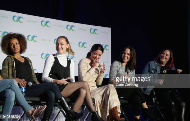 Actresses Erica Luttrell Rachel Skarsten Emmanuelle Vaugier Anna Silk and Bella Books Blog managing editor Dana Piccoli speak at the 'Lost Girl...