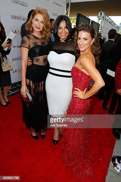 Actresses Erica Piccininni Kathrine Narducci and Renee Marino attend the closing night film premiere of Jersey Boys during the 2014 Los Angeles Film...