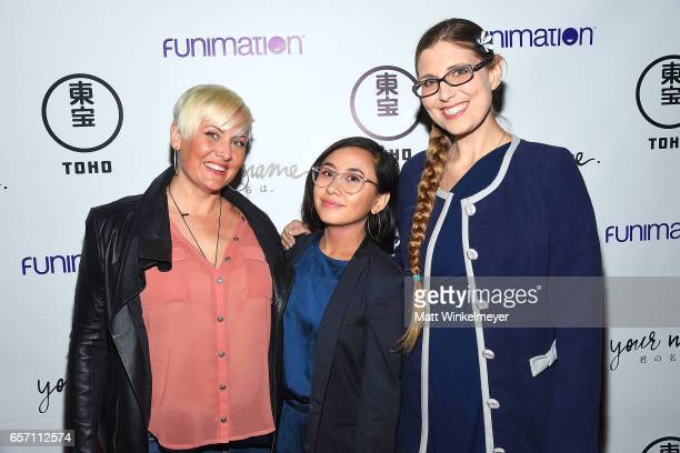 Actresses Erin Fitzgerald Christine Cabanos and Laura Post attend Funimation Films presents 'Your Name' Theatrical Premiere in Los Angeles CA at...