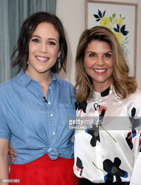 Actresses Erin Krakow and Lori Loughlin visit Hallmark's Home Family at Universal Studios Hollywood on April 23 2018 in Universal City California