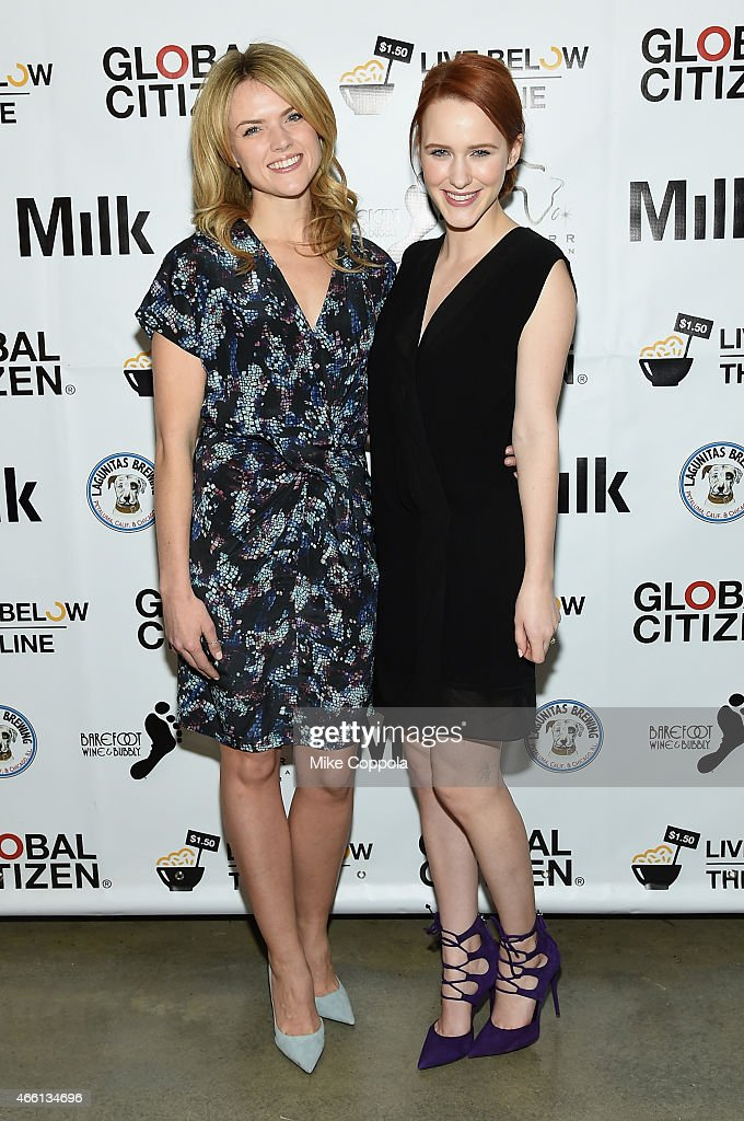 Actresses Erin Richards and Rachel Brosnahan attend The Global Poverty Project hosted 4th annual Live Below The Line launch party at Milk Studios on March 13, 2015 in New York City.