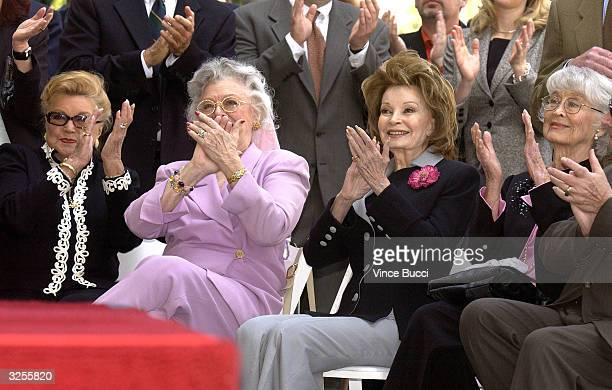 Actresses Esther Williams Ann Rutherford Cara Sue Collins and Betty Garrett attend a ceremony honoring television tycoon Ted Turner with a star on...
