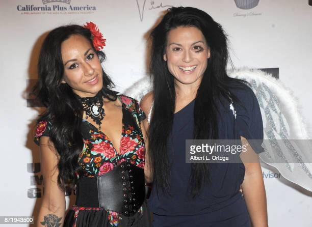 Actresses Eva Ceja and Alexis Iacono attend Halloween Hotness 4 Heating Up For The Cure held at American Legion Hall on October 15 2017 in Los...