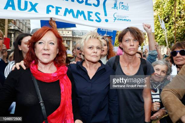 Actresses Eva Darlan Muriel Robin and Anne Le Nen support the Battered Woman Demonstration on October 6 2018 in Paris France