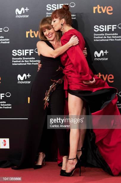 Actresses Eva Llorach and Najwa Nimri attend the 'Quien Te Cantara' premiere during the 66th San Sebastian International Film Festival at the Kursaal...