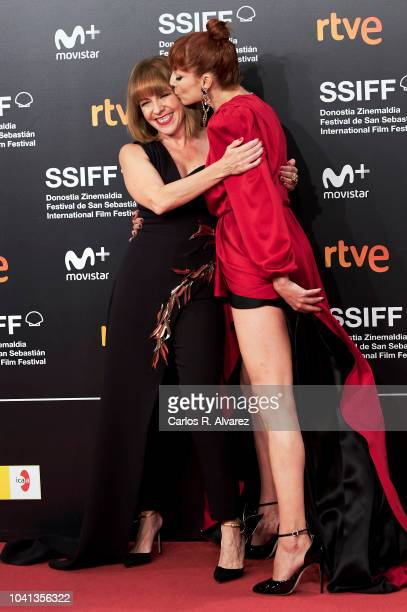 Actresses Eva Llorach and Najwa Nimri attend the 'Quien Te Cantara' premiere during the 66th San Sebastian International Film Festival at the Kursaal...