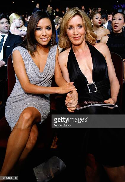 Actresses Eva Longoria and Felicity Huffman poses in the audience during the 33rd Annual People's Choice Awards held at the Shrine Auditorium on...