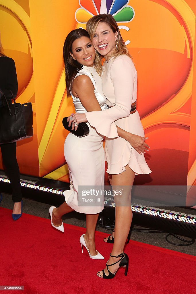Actresses Eva Longoria and Sophia Bush attends the 2015 NBC Upfront Presentation Red Carpet Event at Radio City Music Hall on May 11, 2015 in New York City.