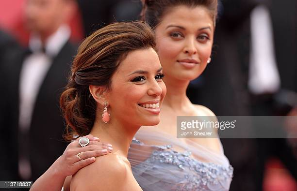 Actresses Eva Longoria Parker and Aishwarya Rai Bachchan attend the Opening Night Premiere of 'Robin Hood' at the Palais des Festivals during the...
