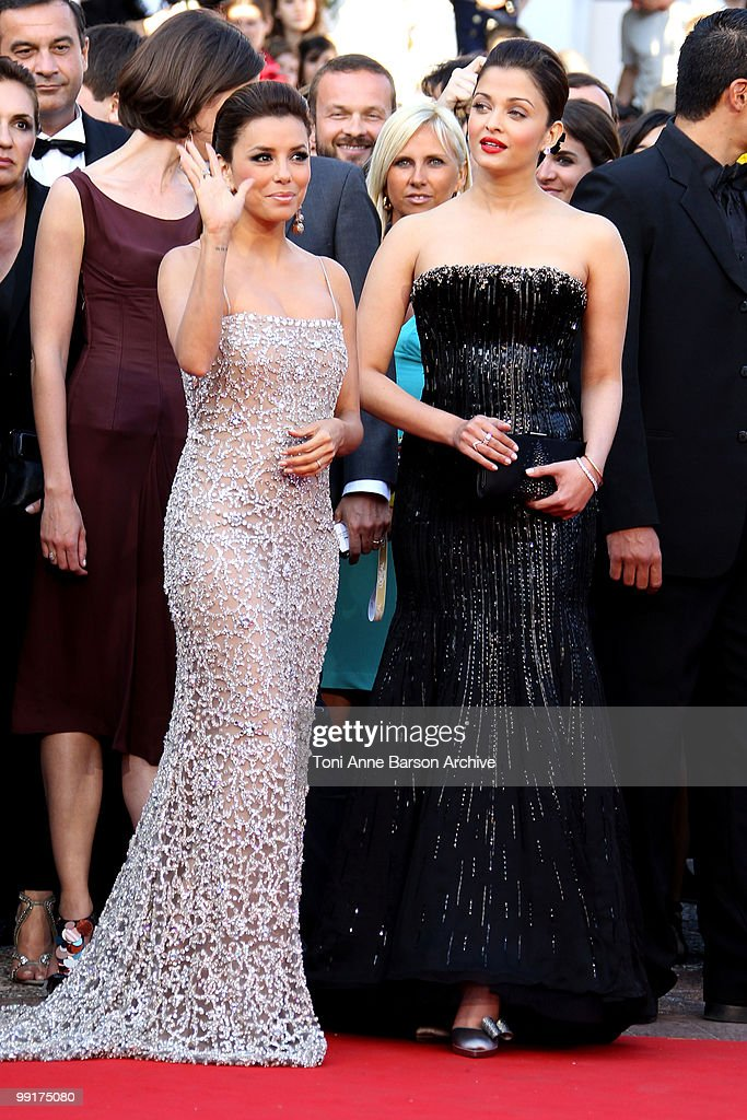 Actresses Eva Longoria Parker and Aishwarya Rai Bachchan attend the Premiere of `On Tour` at the Palais des Festivals during the 63rd Annual...