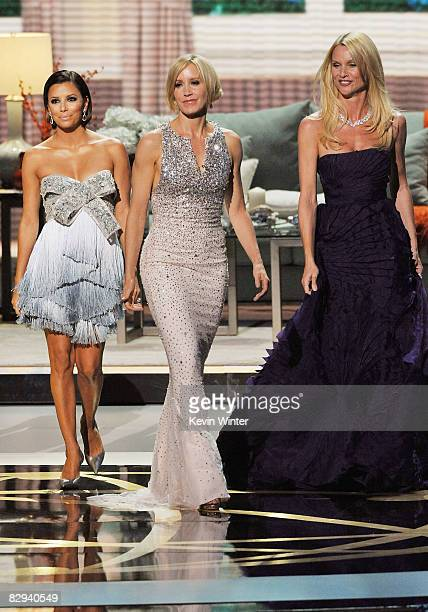 Actresses Eva Longoria Parker Felicity Huffman and Nicollette Sheridan present the Best Supporting Actor in a Drama Series award during the 60th...