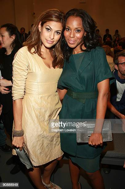Actresses Eva Mendes and Kerry Washington attend Calvin Klein Spring 2010 fashion show at 205 West 39th Street on September 17 2009 in New York New...