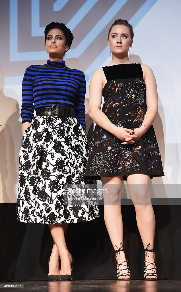 Actresses Eva Mendes (L) and Saoirse Ronan take part in a Q&A following the 'Lost River' premiere during the 2015 SXSW Music, Film + Interactive Festival at Topfer Theatre at ZACH on March 14, 2015 in Austin, Texas.