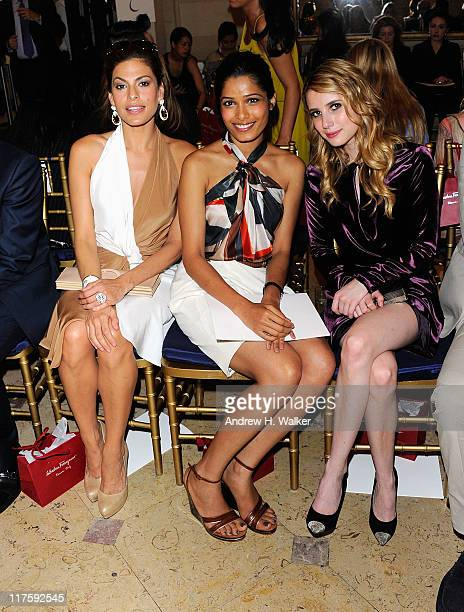Actresses Eva Mendes Freida Pinto and Emma Roberts attend Salvatore Ferragamo's Women's Resort 2012 Collection at James B Duke Mansion on June 28...