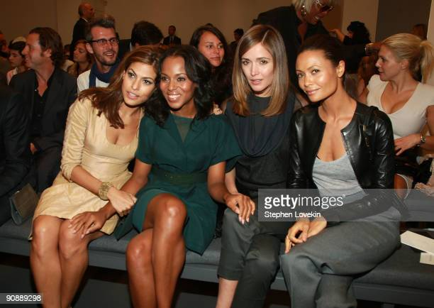 Actresses Eva Mendes Kerry Washington Rose Byrne and Thandie Newton attend Calvin Klein Spring 2010 fashion show at 205 West 39th Street on September...
