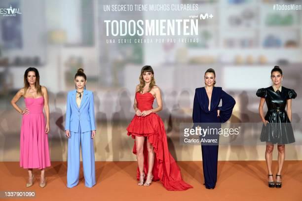 Actresses Eva Santolaria, Berta Castane, Irene Arcos, Natalia Verbeke and Amaia Salamanca attend 'Todos Mienten' photocall at the Europe Congress...