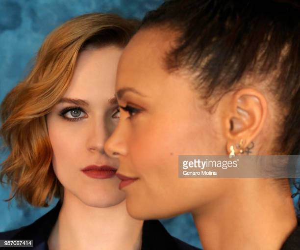 Actresses Evan Rachel Wood and Thandie Newton are photographed for Los Angeles Times on March 12 2018 in Beverly Hills California PUBLISHED IMAGE...