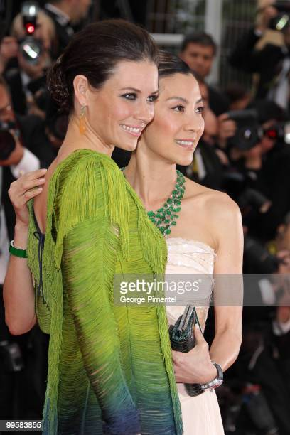 Actresses Evangeline Lilly and Michelle Yeoh attend the 'You Will Meet A Tall Dark Stranger' Premiere held at the Palais des Festivals during the...