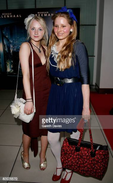 Actresses Evanna Lynch and Jessie Cave arrive at the European film premiere of 'The Dark Knight' at the Odeon Leicester Square on July 21 2008 in...