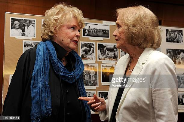 Actresses Evans Evans Frankenheimer and Eva Marie Saint attend The Academy Of Motion Picture Arts And Sciences' Last 70mm Film Festival Screening Of...