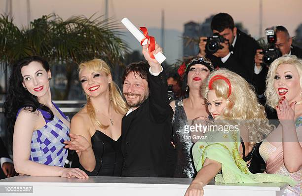 Actresses Evie Lovell Julie Atlas Muz winner of the award for Best Director Mathieu Amalric Kitten on the Keys Dirty Martini and Mimi Le Meaux attend...