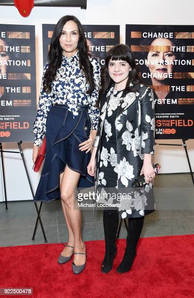 Actresses Famke Janssen and Madeleine Martin attend the 'Notes From The Field' New York screening at Museum of Modern Art on February 21 2018 in New...