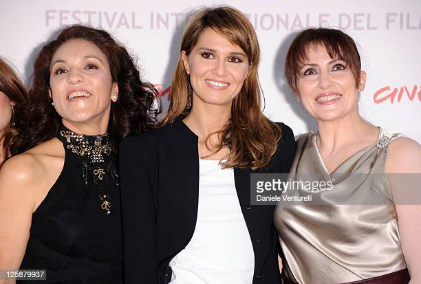 Actresses Farida Rahouadj Paola Cortellesi and Daniela Giordano attend the Le Cose Che Restano Photocall during the 5th International Rome Film...