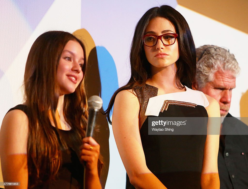 Actresses Fatima Ptacek (L) and Emmy Rossum speak onstage at the 'Before I Disappear' Photo Op and Q&A during the 2014 SXSW Music, Film + Interactive Festival at Alamo Ritz on March 10, 2014 in Austin, Texas.