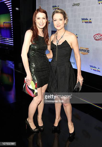 Actresses Felicia Day and Ali Hillis arrive at Spike TV's '2010 Video Game Awards' held at the LA Convention Center on December 11 2010 in Los...