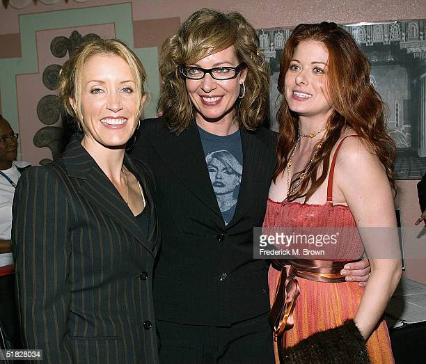 Actresses Felicity Huffman Allison Janney and Debra Messing attend the Annual Cracked XMAS 7 charity function on December 5 2004 at the Wiltern LG in...
