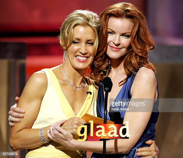 Actresses Felicity Huffman and Marcia Cross present an award onstage during the 16th Annual GLAAD Media Awards at the Kodak Theater on April 30 2005...