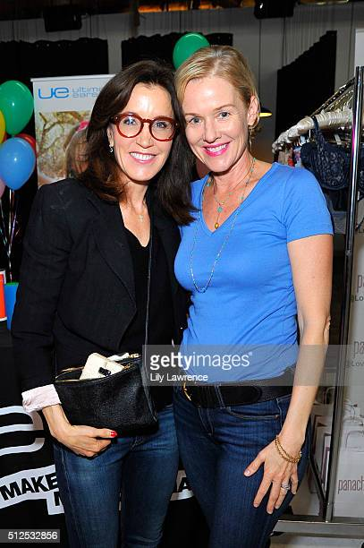 Actresses Felicity Huffman and Penelope Ann Miller attend Kari Feinstein's Style Lounge presented by LIFX on February 26 2016 in Los Angeles...