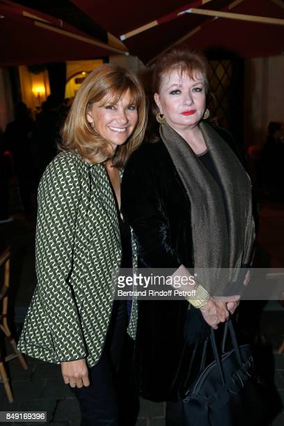 Actresses Florence Pernel and Catherine Jacob attend La vraie vie Theater Play at Theatre Edouard VII on September 18 2017 in Paris France