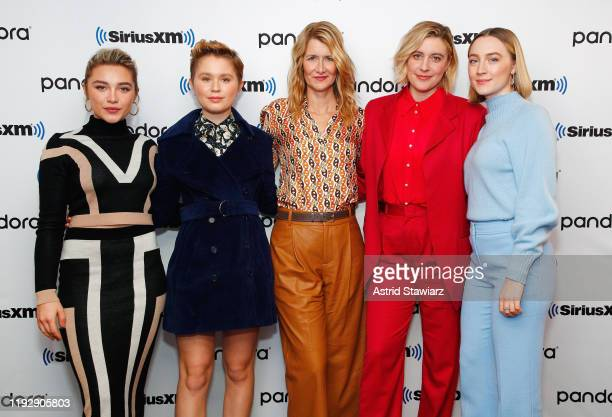 Actresses Florence Pugh Eliza Scanlen Laura Dern director Greta Gerwig and Saoirse Ronan attend SiriusXM's Town Hall with the cast of 'Little Women'...