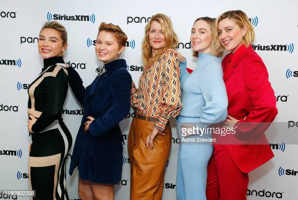 Actresses Florence Pugh Eliza Scanlen Laura Dern Saoirse Ronan and director Greta Gerwig attend SiriusXM's Town Hall with the cast of 'Little Women'...
