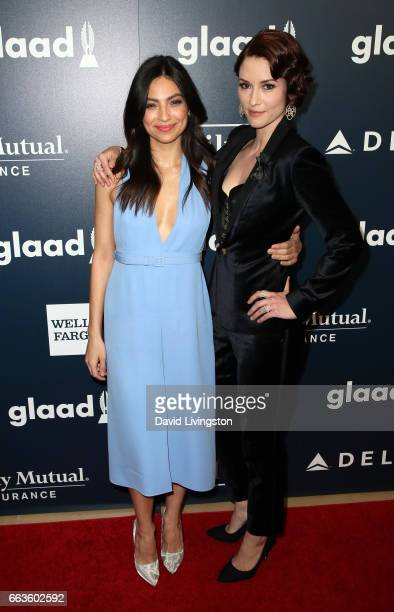 Actresses Floriana Lima and Chyler Leigh attend the 28th Annual GLAAD Media Awards at The Beverly Hilton Hotel on April 1 2017 in Beverly Hills...