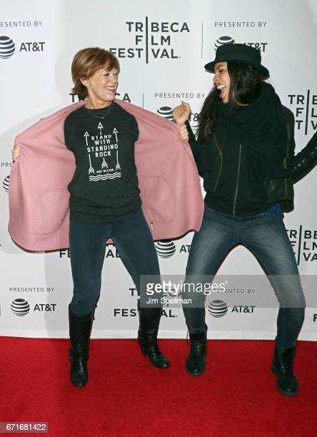 Actresses Frances Fisher and Rosario Dawson attend Awake A Dream From Standing Rock during the 2017 Tribeca Film Festival at Cinepolis Chelsea on...