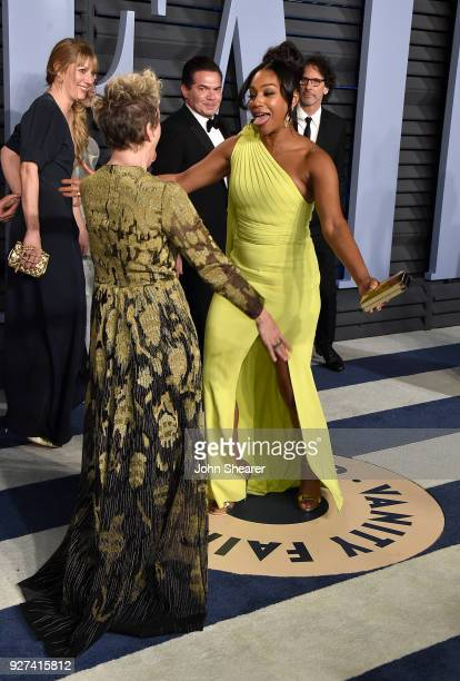 Actresses Frances McDormand and Tiffany Haddish attend the 2018 Vanity Fair Oscar Party hosted by Radhika Jones at Wallis Annenberg Center for the...