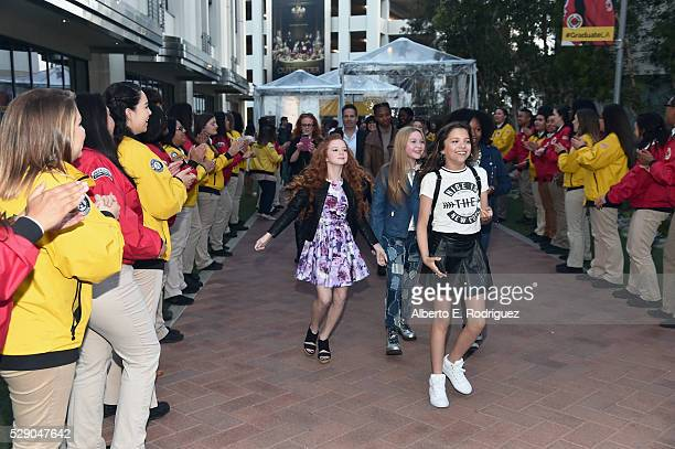 Actresses Francesca Capaldi Ella Anderson and Cree Cicchino attend City Year Los Angeles Spring Break Event at Sony Studios on May 7 2016 in Los...