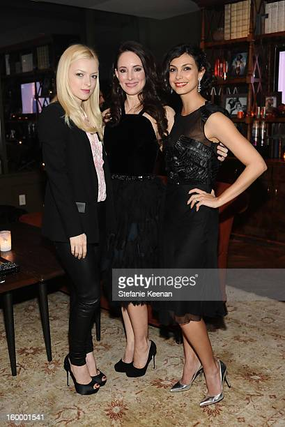 Actresses Francesca Eastwood Madeleine Stowe and Morena Baccarin attend the ELLE's Women in Television Celebration at Soho House on January 24 2013...