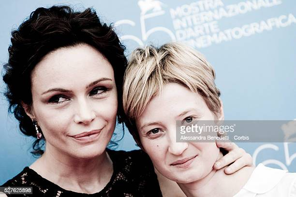 Actresses Francesca Neri and Alba Rorhwacher attend the photo call of 'Il Papa di Giovanna' during the 65th Venice Film Festival