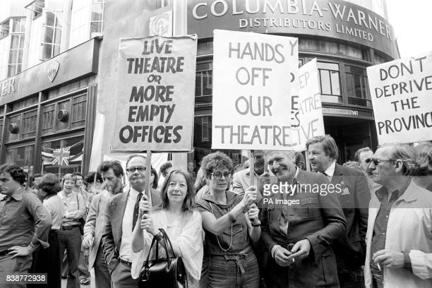 Actresses Francis Cuka left and Janet Suzman carry protest banners in Wardour Street London when she joined a number of leading personalities from...