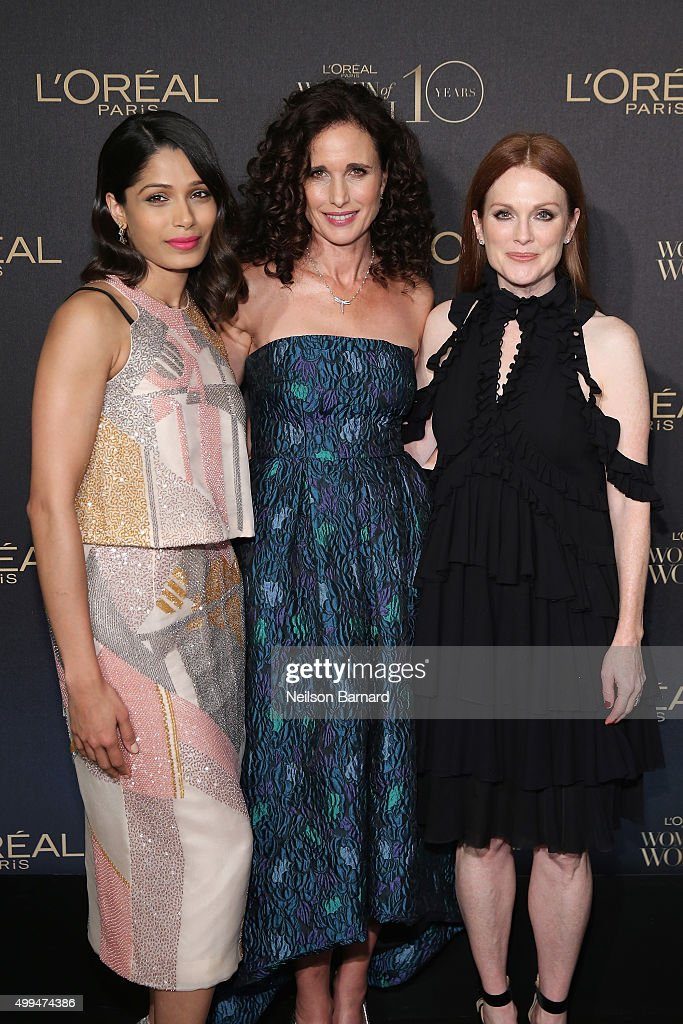 Actresses Freida Pinto, Andie MacDowell, and Julianne Moore attend the L'Oreal Paris Women of Worth 2015 Celebration - Arrivals at The Pierre Hotel on December 1, 2015 in New York City.