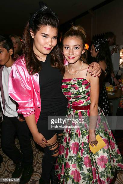 Actresses G Hannelius and Madison De La Garza attend G Hannelius's 16th Birthday Celebration at Palihouse on December 13 2014 in West Hollywood...