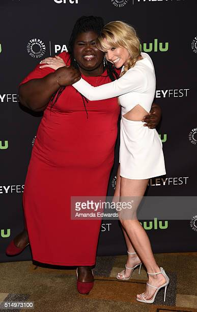 Actresses Gabourey Sidibe and Kaitlin Doubleday arrive at The Paley Center For Media's 33rd Annual PaleyFest Los Angeles presentation of Empire at...